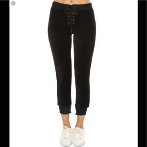 Pam and Gela Velour lace up cropped Joggers